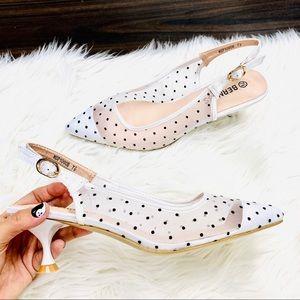 White polka dot sling back heel